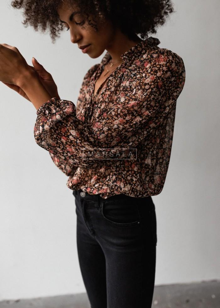 Bluzka z wiązaniem szyfonowa czarna w kwiaty print beige - EMILY BEIGE by Marsala