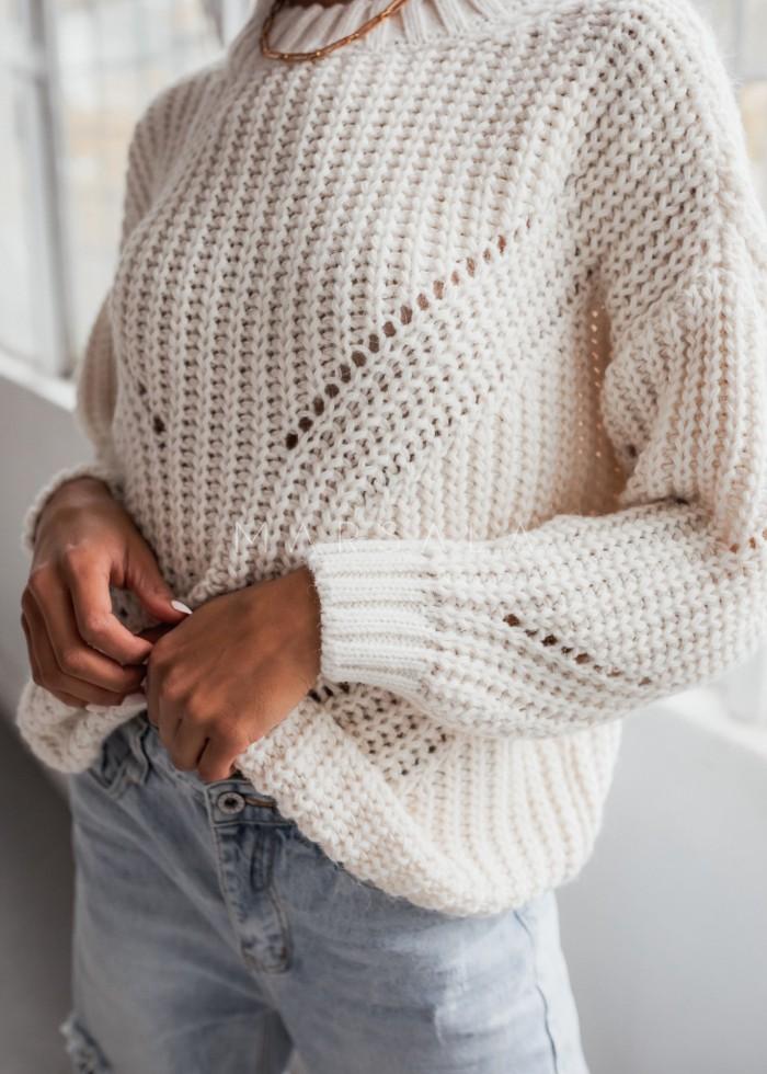 Sweter z ozdobnym splotem w kolorze ecru - VENEZIA by Marsala