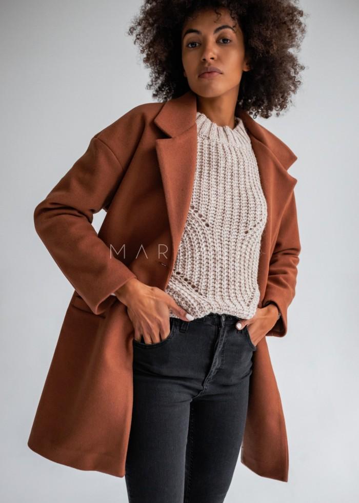 Płaszcz jesienno - zimowy w kolorze kamelowym - DENVER by Marsala