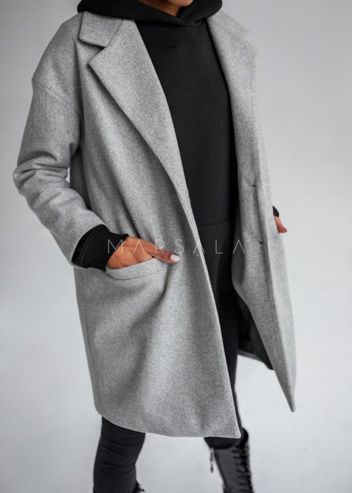 Płaszcz jesienno - zimowy w kolorze szary melanż - DENVER by Marsala