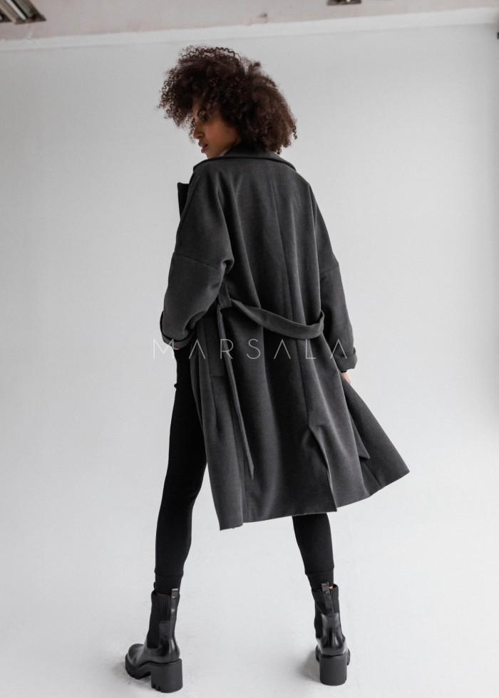 Długi płaszcz typu oversize z wiązaniem szary NEW YORK by Marsala