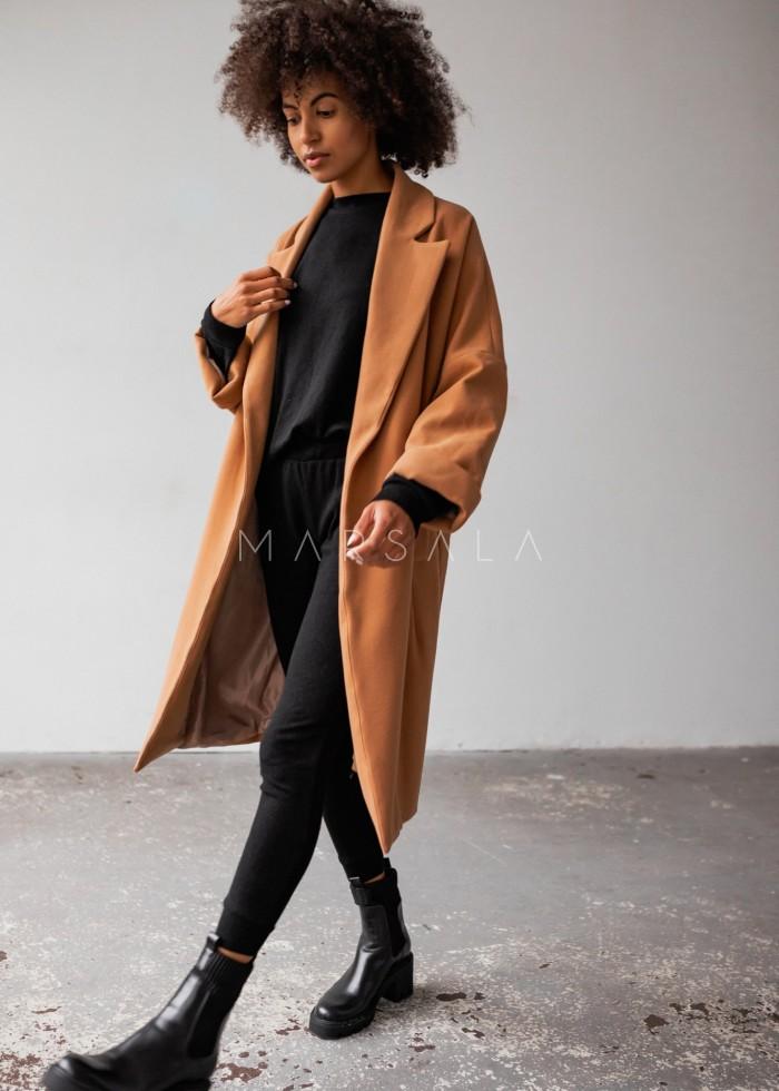Długi płaszcz typu oversize z wiązaniem kamel NEW YORK by Marsala