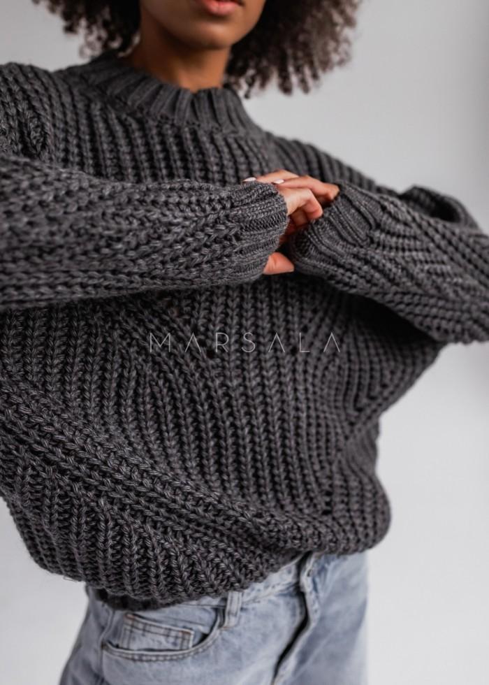 Sweter z ozdobnym splotem w kolorze ciemnoszarym - VENEZIA by Marsala