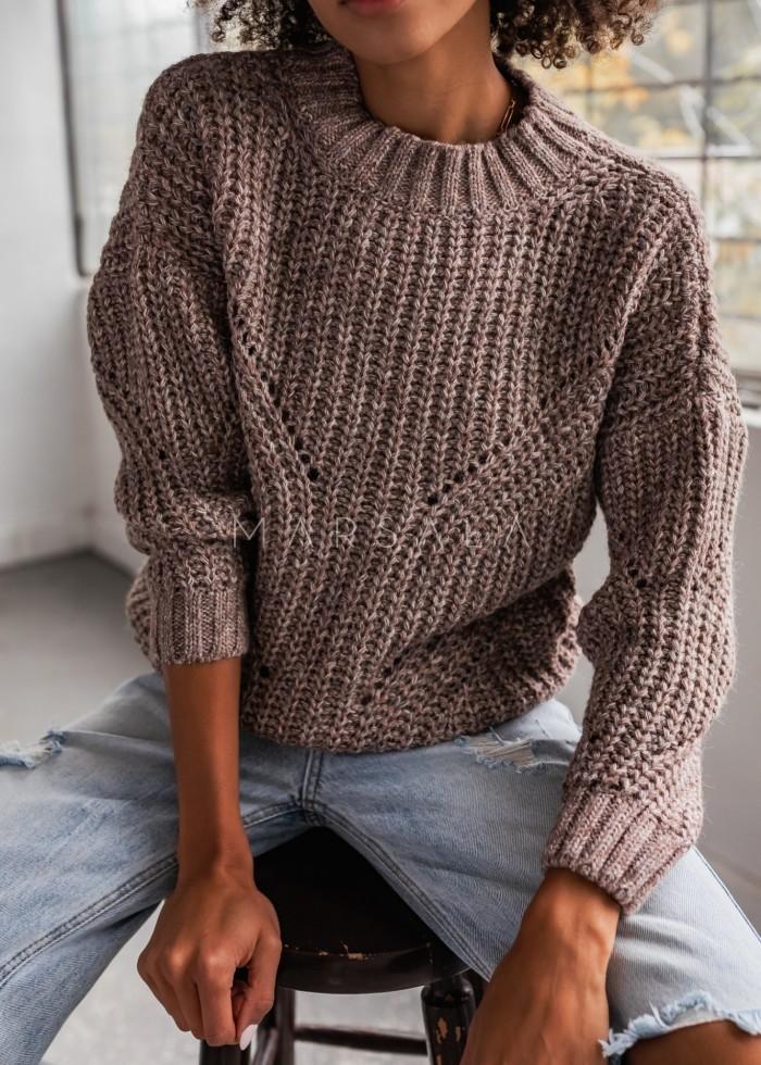 Sweter z ozdobnym splotem w kolorze latte melanż - VENEZIA by Marsala