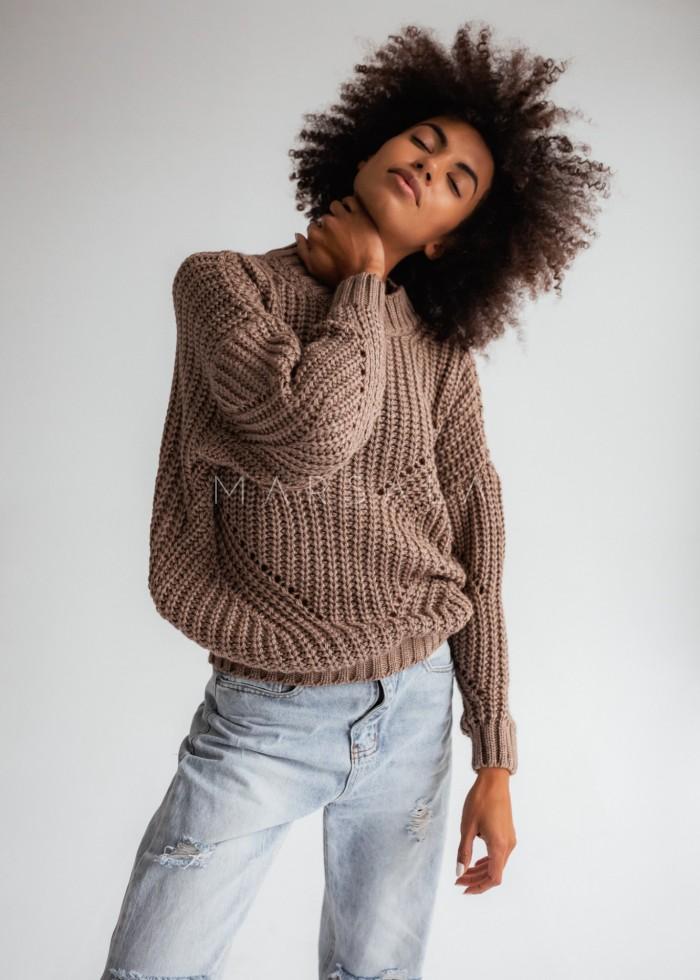 Sweter z ozdobnym splotem w kolorze mocca - VENEZIA by Marsala