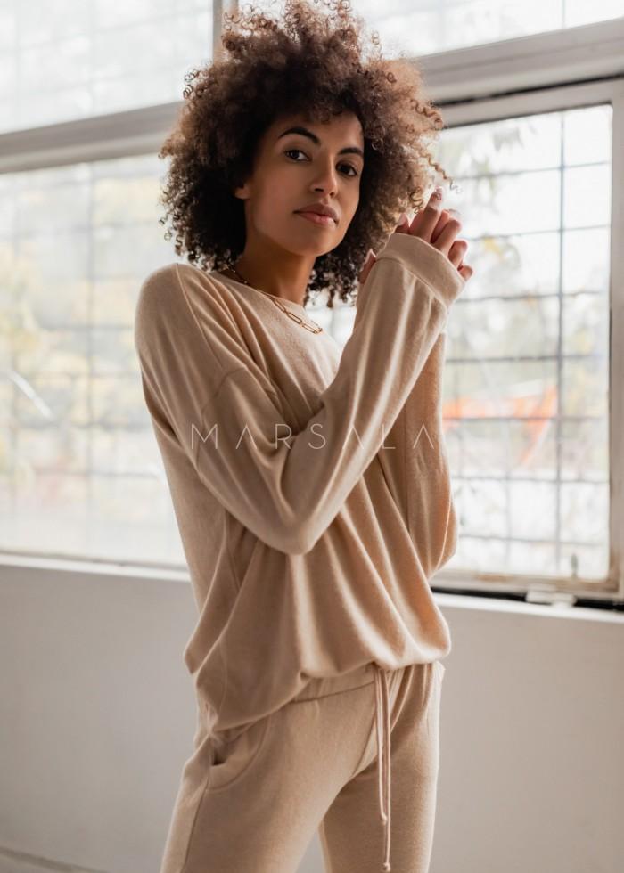 Komplet z dzianiny sweterkowej w kolorze beżowym LOWELL by Marsala