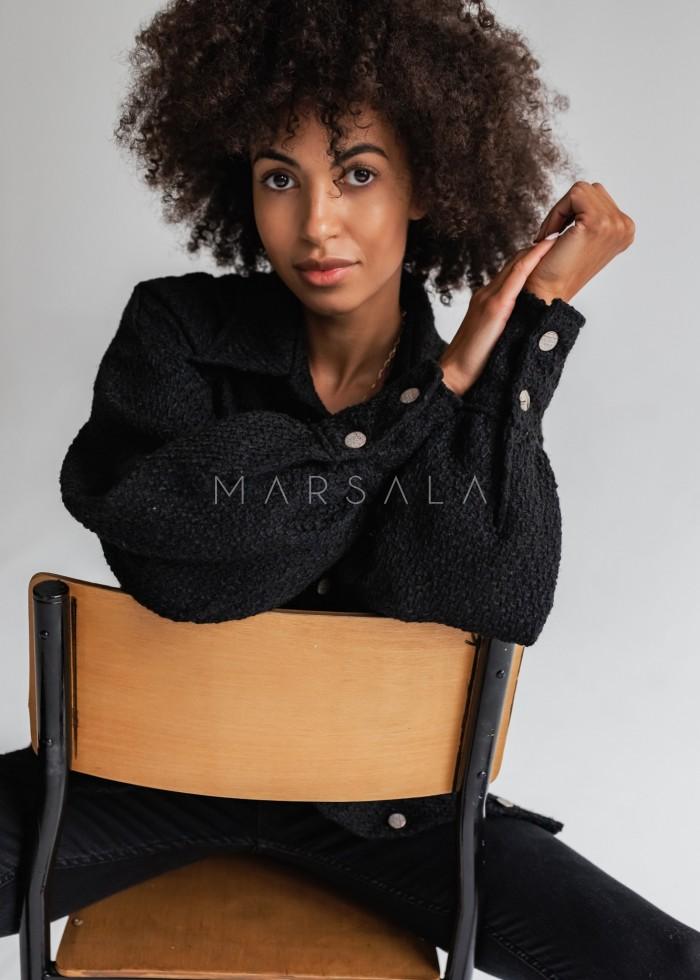 Koszula wierzchnia z tkaniny strukturalnej czarna - STANLEY by Marsala
