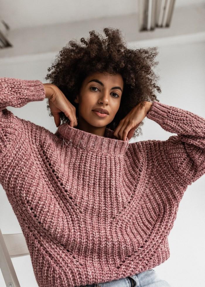 Sweter z ozdobnym splotem w kolorze pudrowego różu - VENEZIA by Marsala