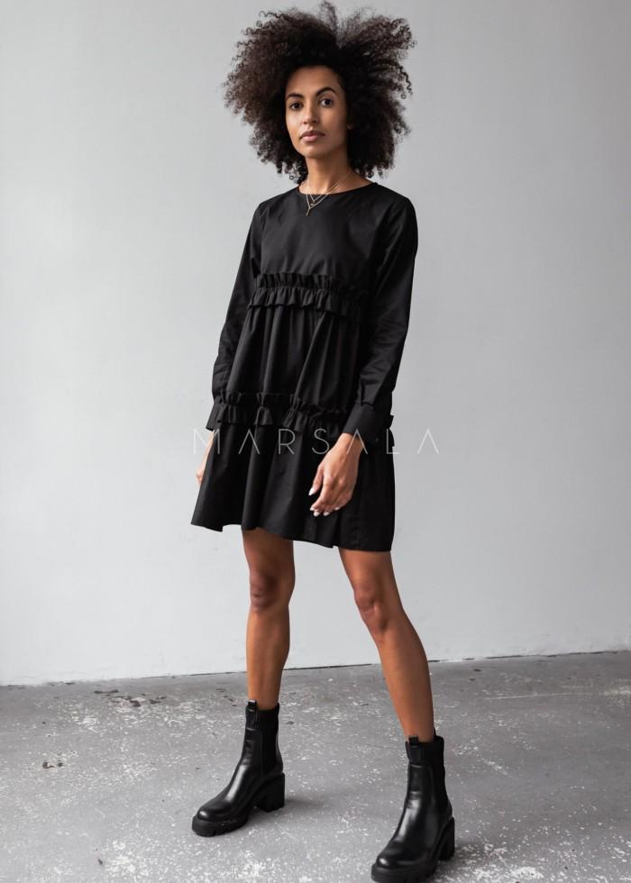 Sukienka z bawełny w kolorze czarnym z marszczeniami - ROSALIE by Marsala