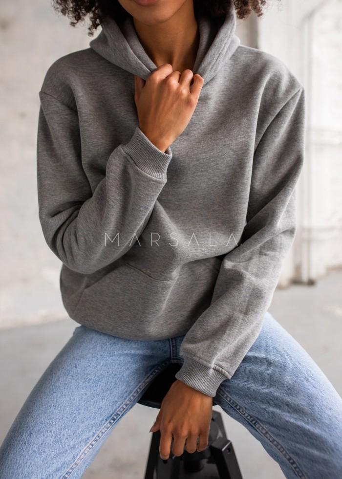 Bluza BASIC BY MARSALA z kapturem ciemnoszara
