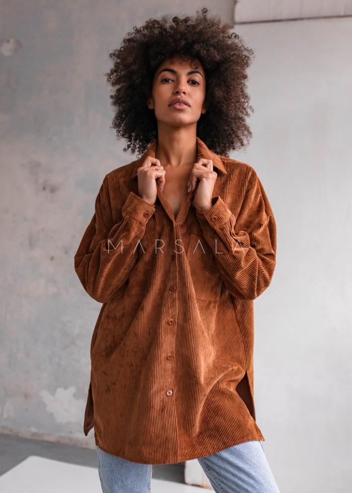 Koszula oversize ze sztruksu w kolorze brązowym - NORD BROWN by Marsala