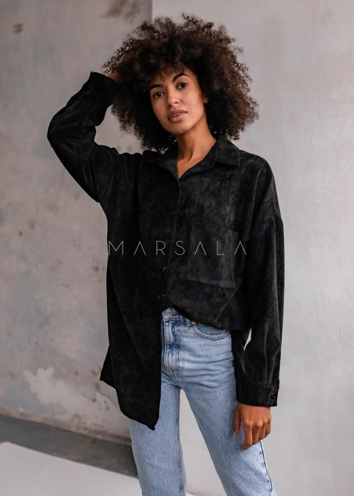 Koszula oversize ze sztruksu w kolorze czarnym - NORD BLACK by Marsala