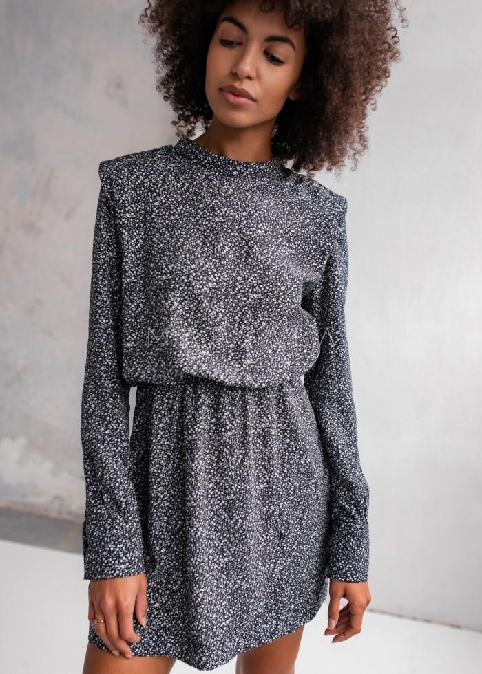 Sukienka z poduszkami na ramionach czarna w drobne kwiatuszki - CALVADOS by Marsala