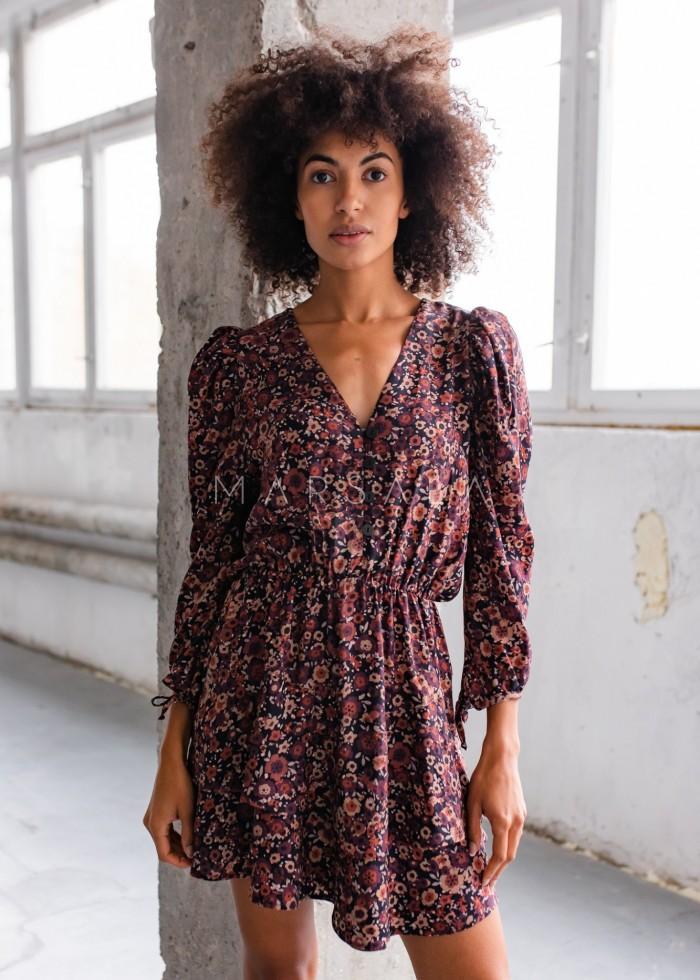 Sukienka z falbankami i guzikami bordo kwiatowy print - EPINAL by Marsala