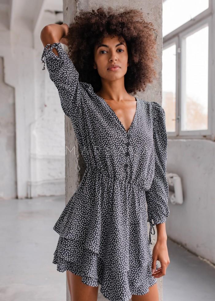 Sukienka z falbankami i guzikami czarna w kwiatowy print - EPINAL by Marsala