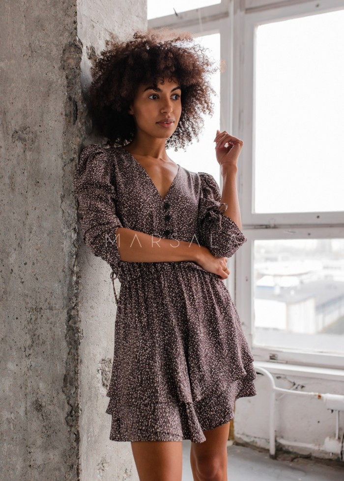 Sukienka z falbankami i guzikami brązowa w drobne kwiatuszki - EPINAL by Marsala