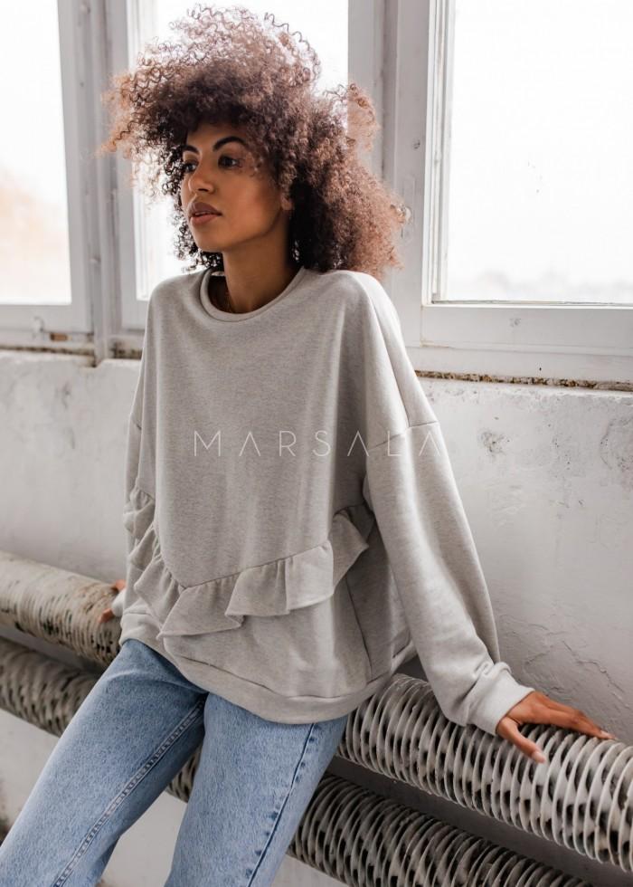 Bluza damska oversize z falbanką na doleSZARY MELANŻ - ANGEL BY MARSALA