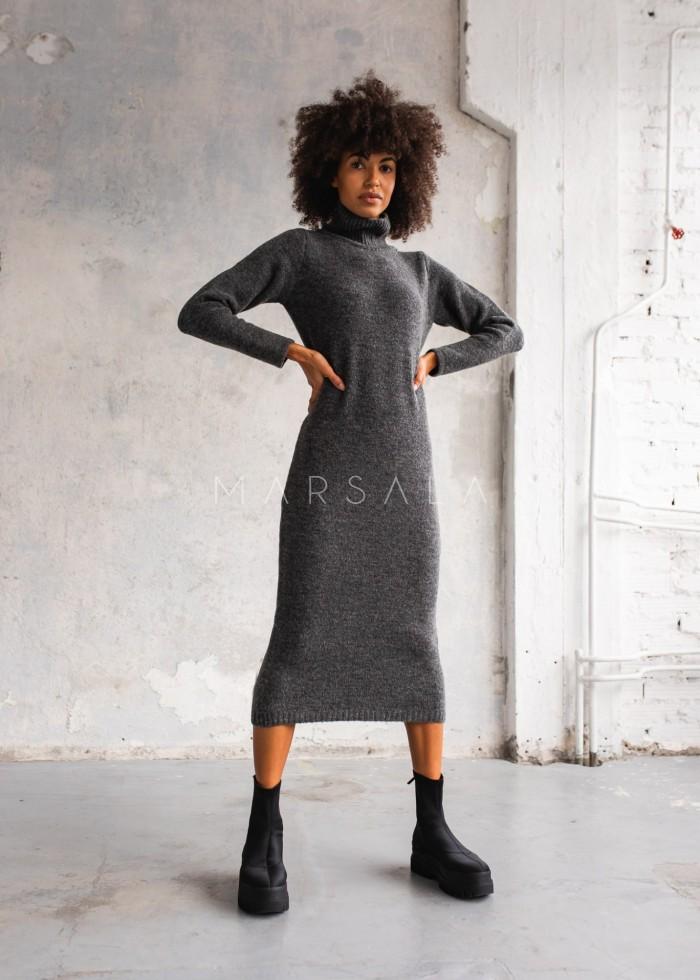 Sukienka z dzianiny swetrowej z golfem ciemnoszara - PERMISSION by Marsala