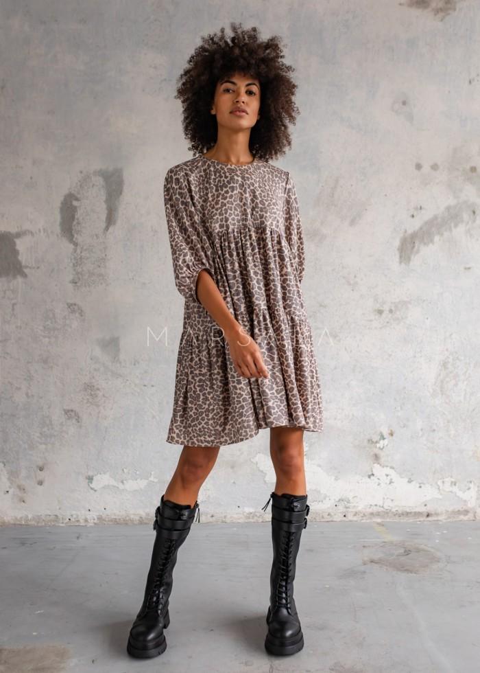 Sukienka oversize z przeszyciami w panterkę - BLUSH by Marsala