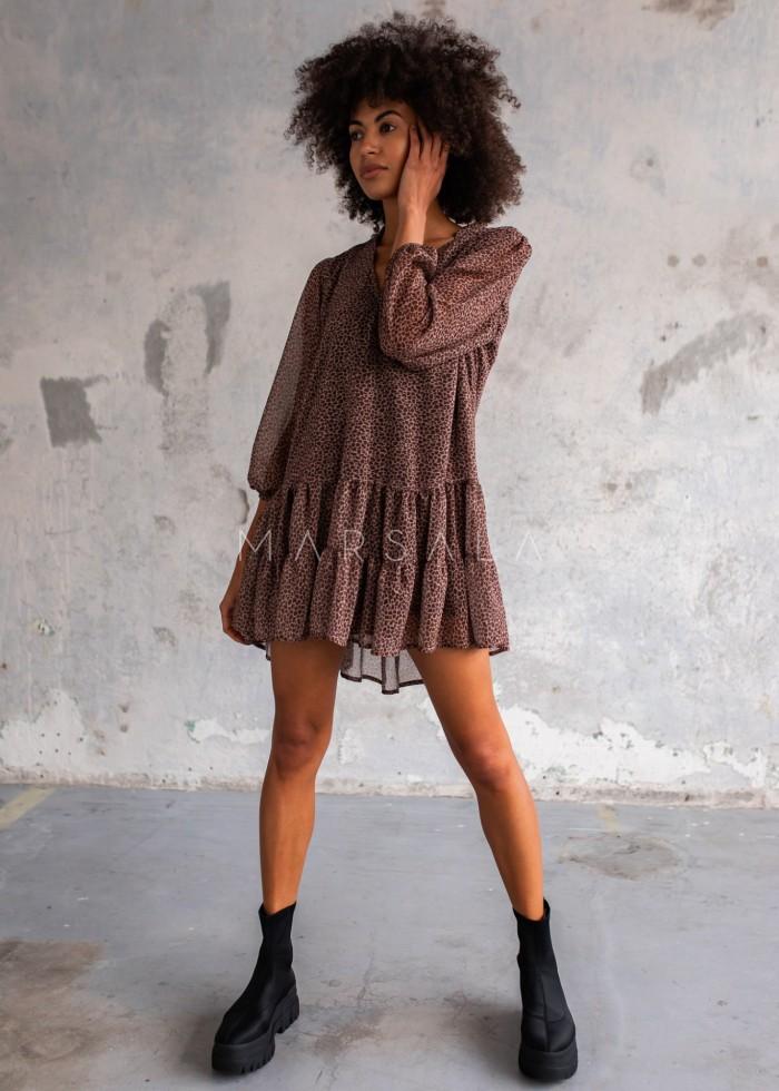 Sukienka szyfonowa z falbankami brązowo beżowa zwierzęcy print - FEMI by Marsala