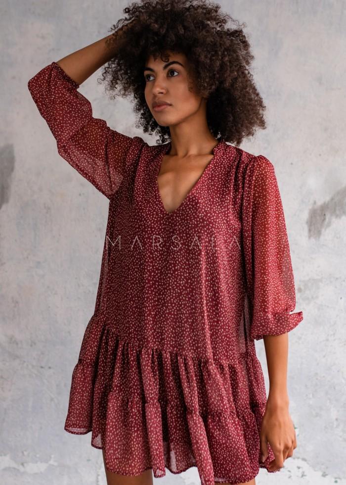 Sukienka szyfonowa z falbankami kolor bordo z nadrukiem - FEMI by Marsala