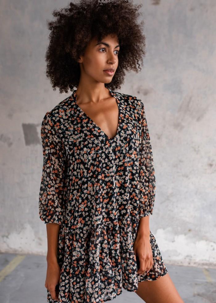 Sukienka szyfonowa z falbankami czarna w kwiatowy print - FEMI by Marsala