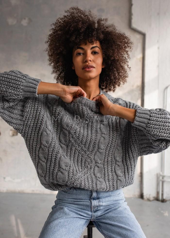 Gruby sweter z ozdobnym splotem w kolorze grey BELFORT by Marsala