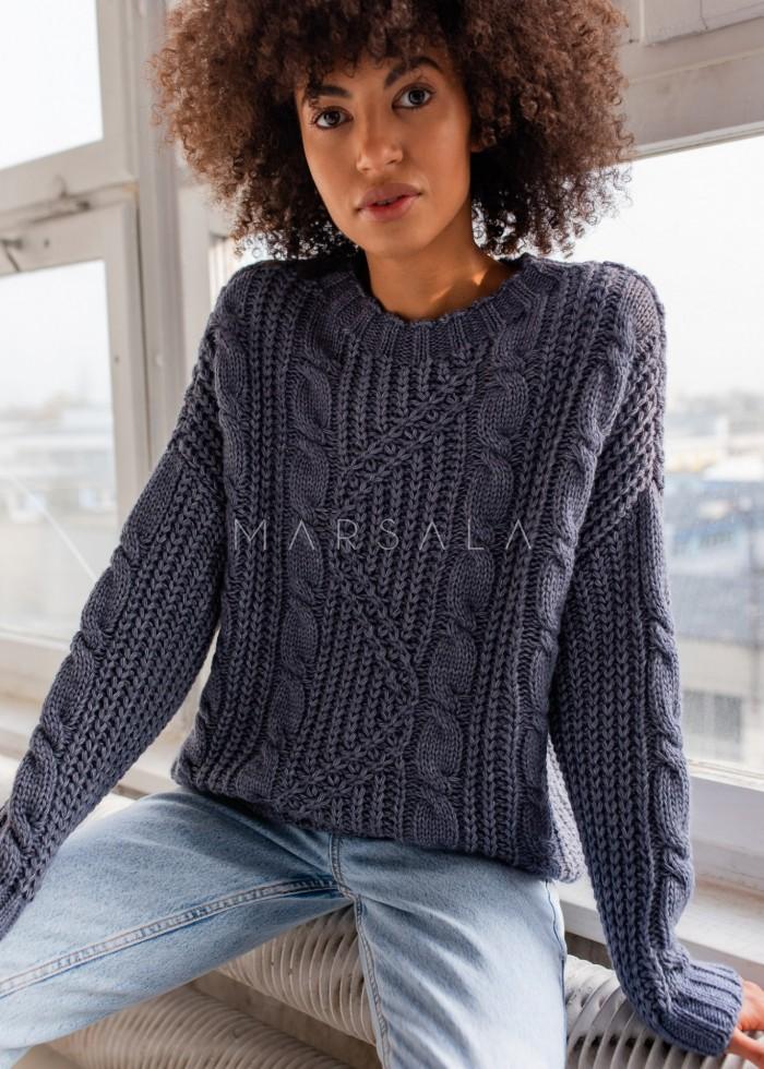 Gruby sweter z ozdobnym splotem w kolorze blue jeans BELFORT by Marsala