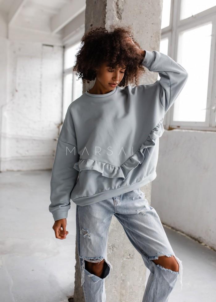 Bluza damska oversize z falbanką na dole błękitna - ANGEL by Marsala