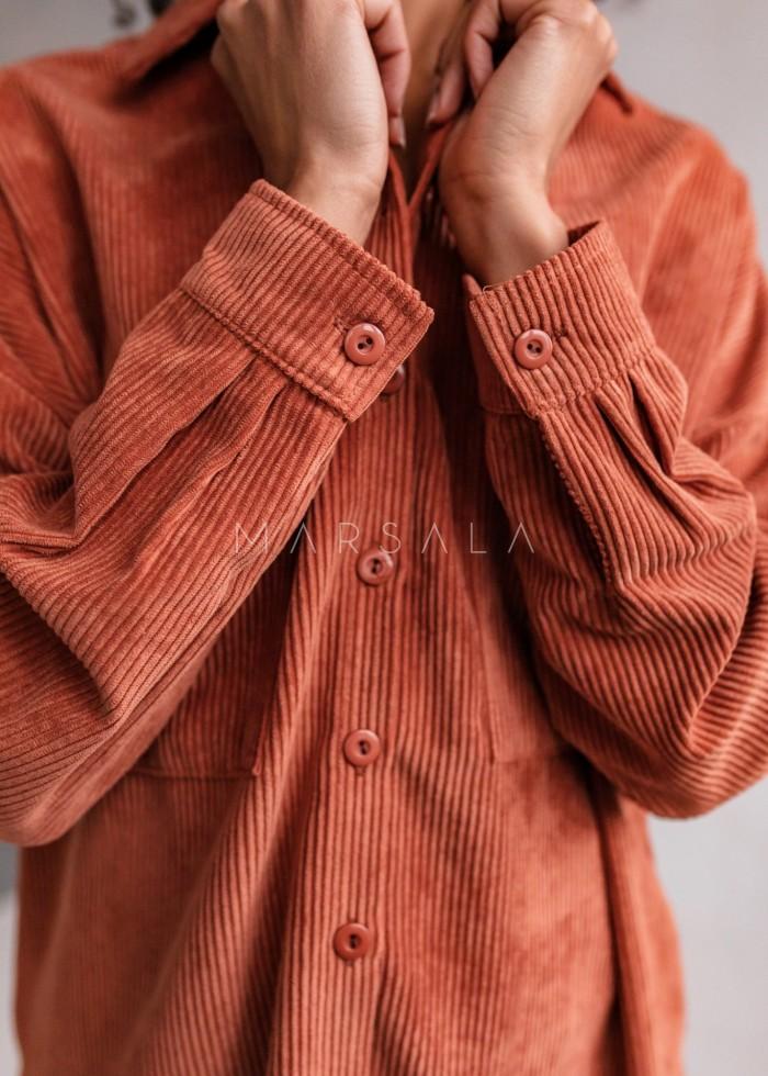 Koszula oversize ze sztruksu w kolorze ceglanym - NORD CORAL by Marsala
