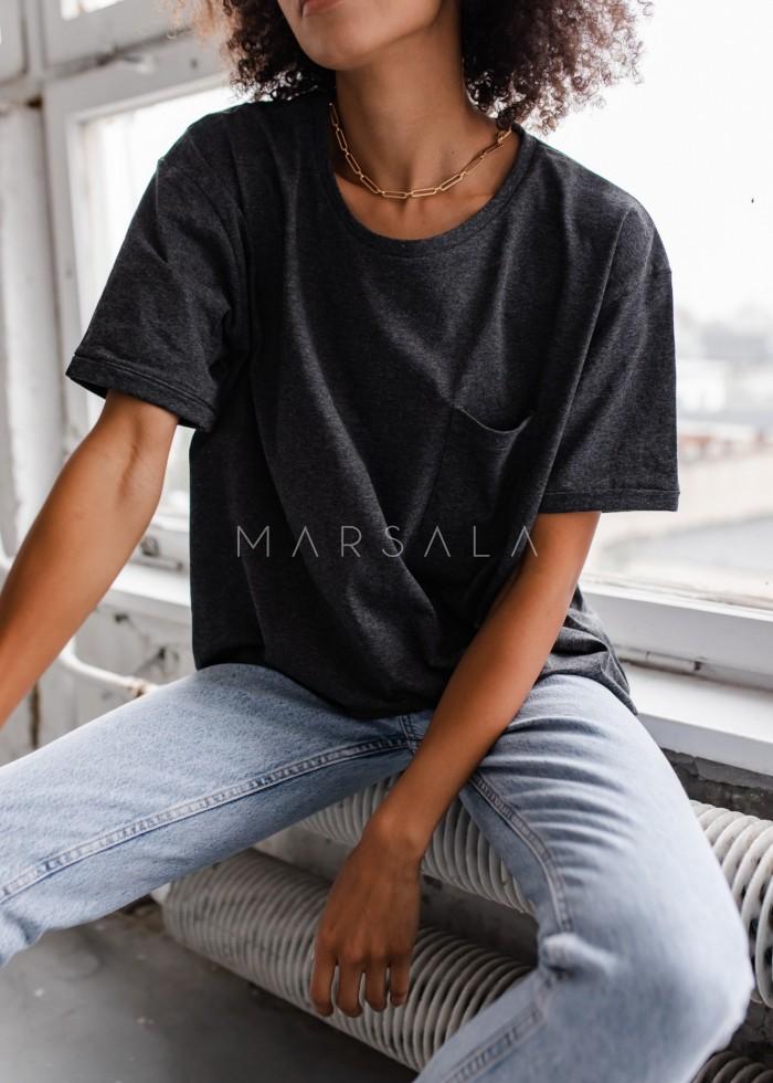 T-shirt damski w kolorze grafitowym z kieszonką SPLIT GRAPHITE BY MARSALA