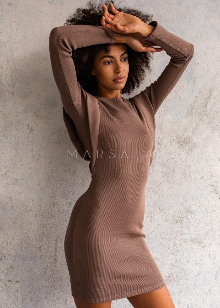 Sukienka dopasowana z pagonami w kolorze mocca - FLEXY by Marsala