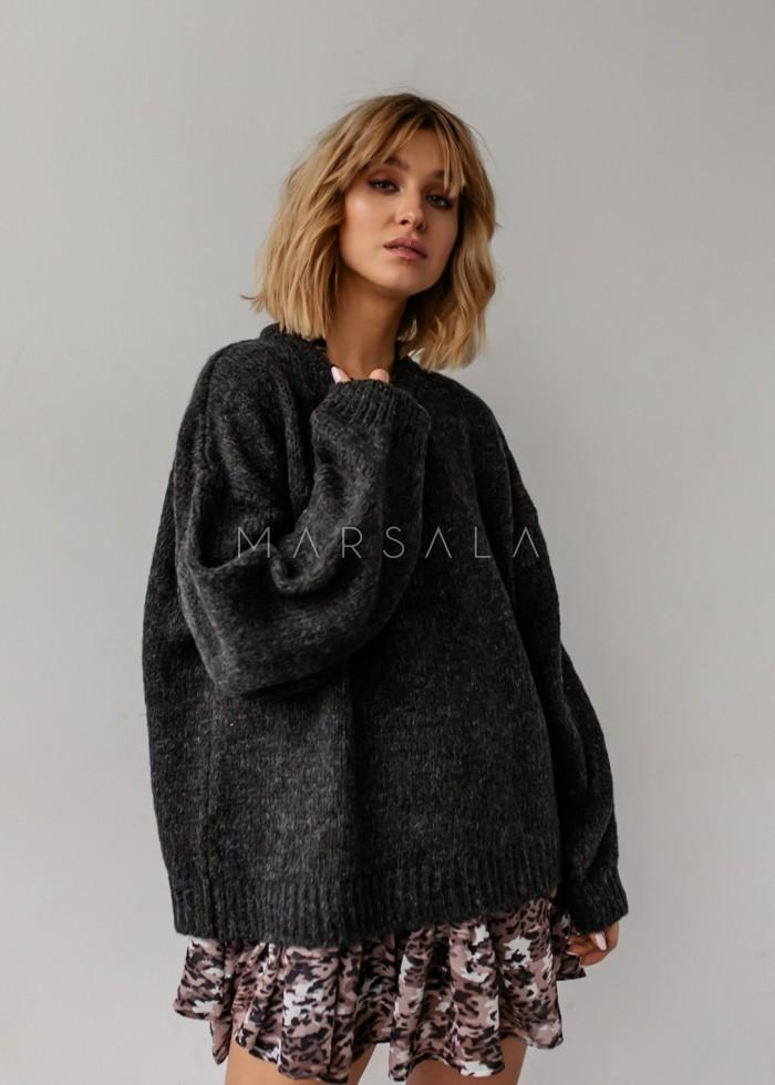 Sweter oversize z bufiastym rękawem grafitowy - RIVERO by Marsala