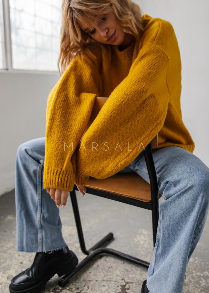 Sweter oversize z bufiastym rękawem musztardowy - RIVERO by Marsala