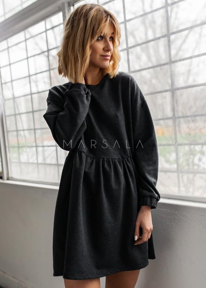 Sukienka dresowa typu oversize z odcięciem grafitowa - MERLO by Marsala