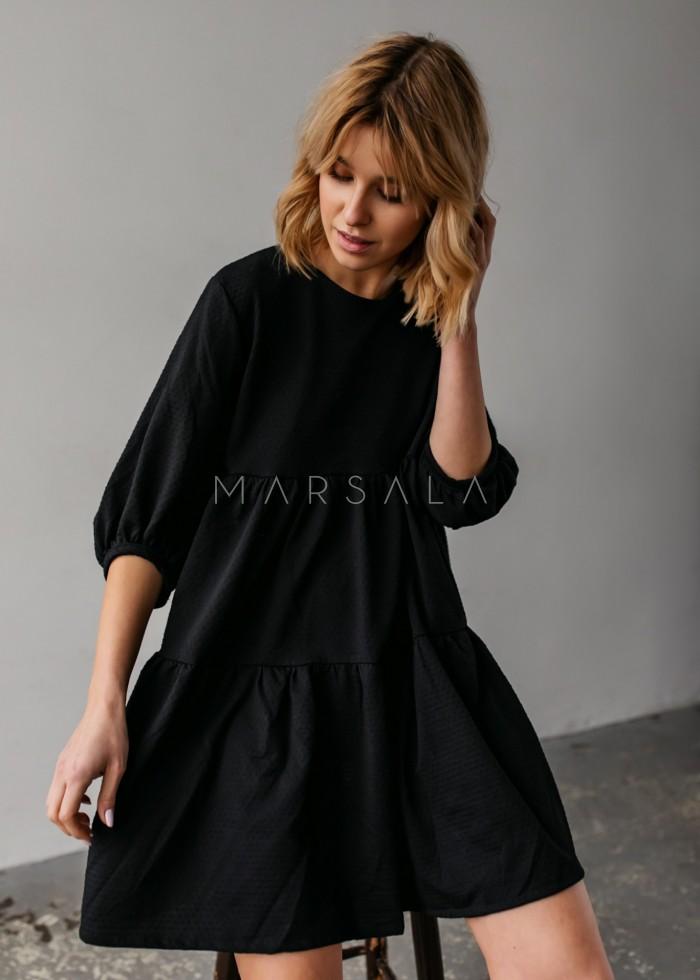 Sukienka oversize z przeszyciami czarna z kropeczkami- BLUSH by Marsala