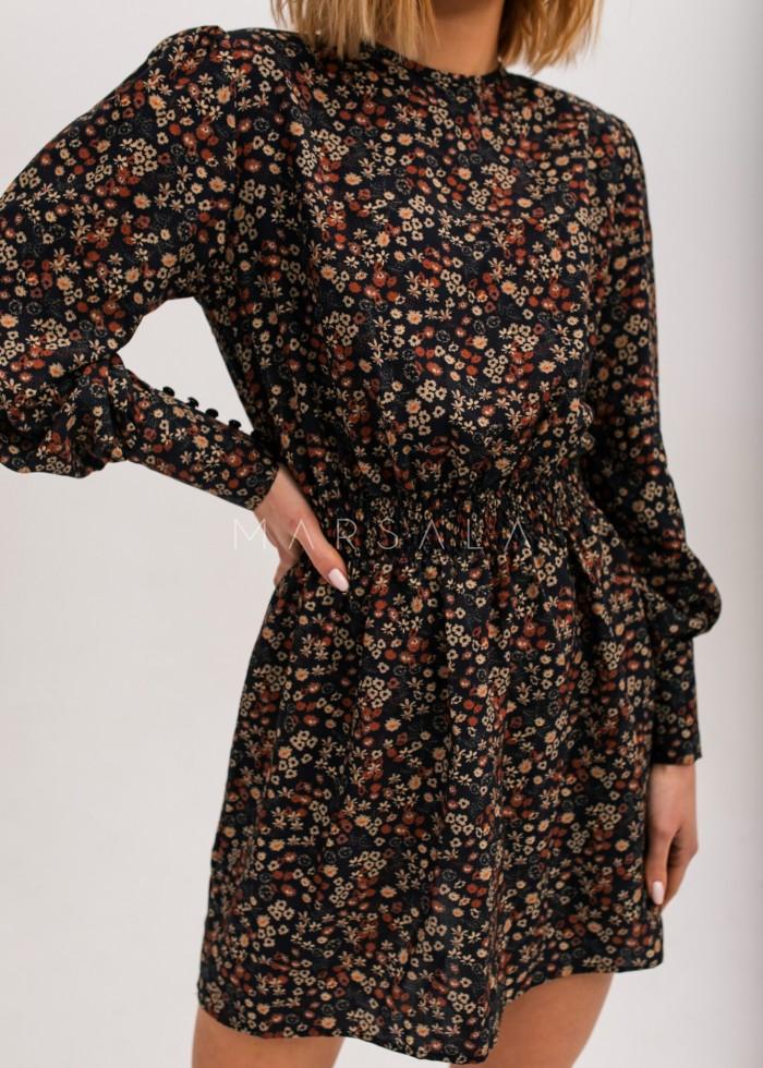 Sukienka z odcięciem w pasie czarna w drobne kwiatuszki - PUENTE by Marsala
