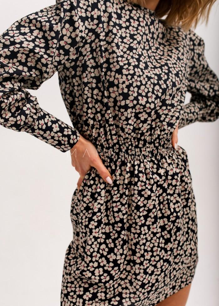 Sukienka z odcięciem w pasie w kolorze ciemny granat w kwiaty - PUENTE BY MARSALA