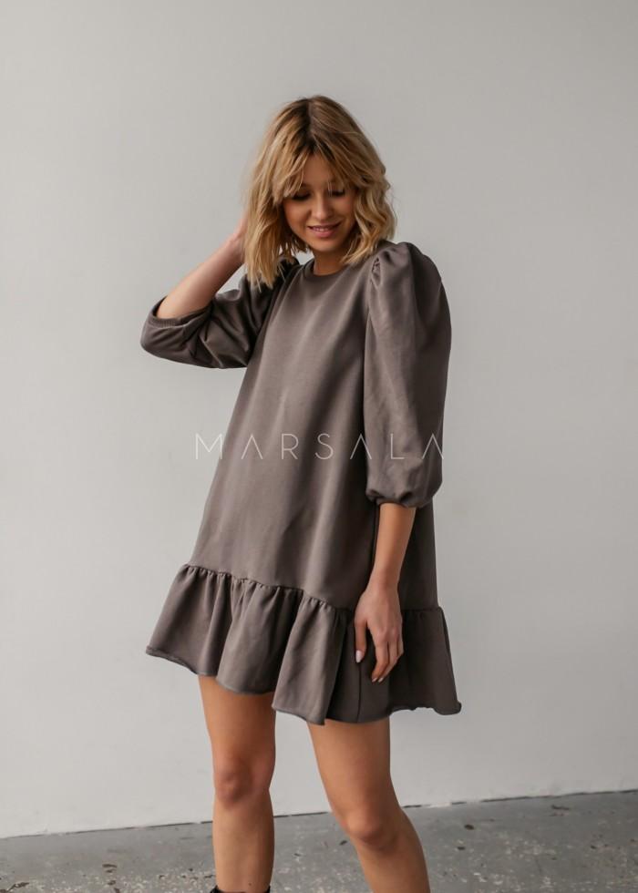 Sukienka dresowa z bufkami i falbanką na dole ciemna oliwka - SALLY by Marsala