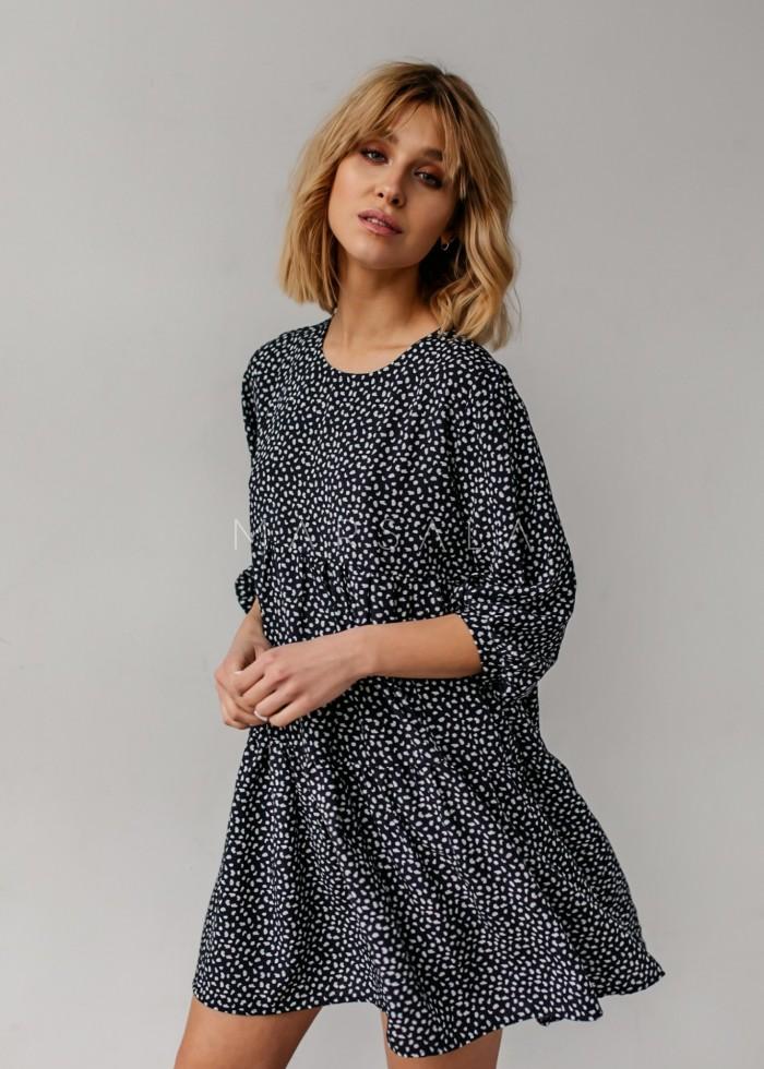 Sukienka oversize z przeszyciami czarna z printem - BLUSH by Marsala