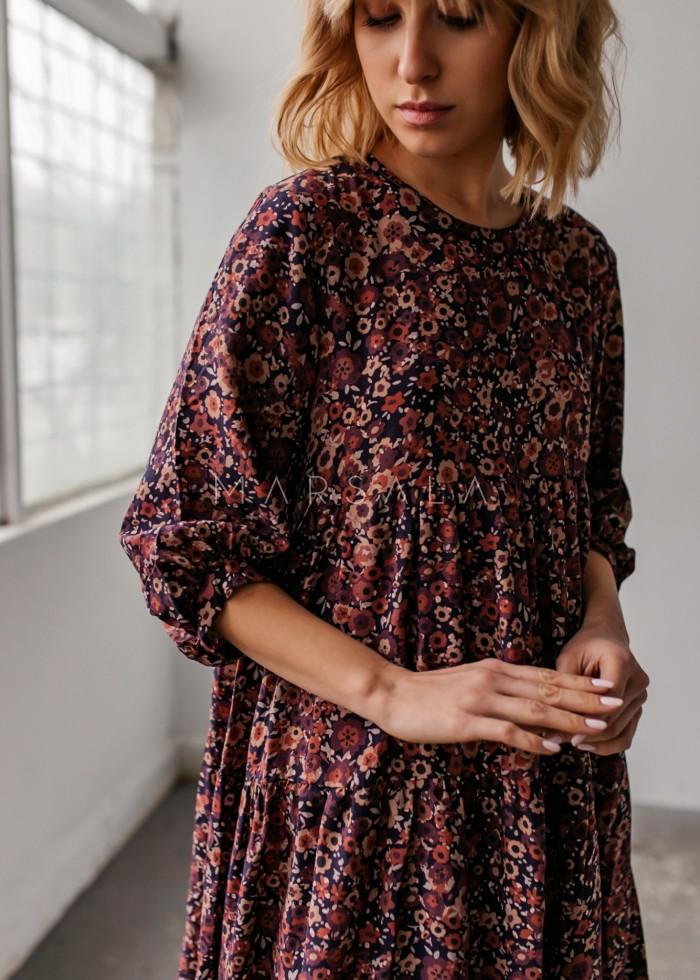 Sukienka oversize z przeszyciami print bordowo brązowe kwiaty - BLUSH by Marsala