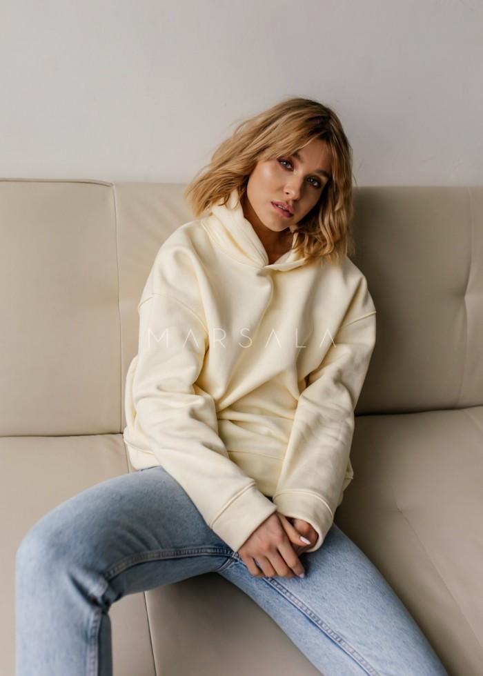 Bluza z kapturem w kolorze vanilla cream - CARDIFF by Marsala
