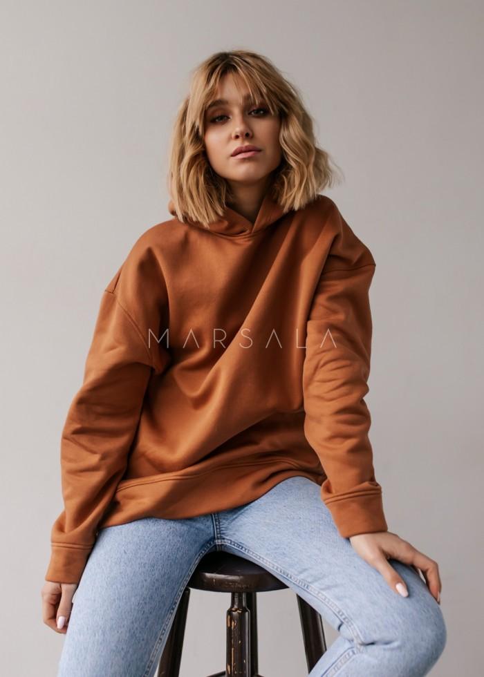 Bluza z kapturem w kolorze amber brown - CARDIFF by Marsala