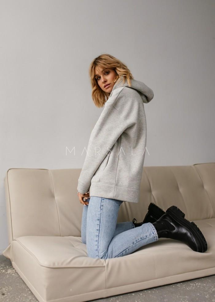 Bluza z kapturem w kolorze GREY MELANGE MULTICOLOR - CARDIFF BY MARSALA