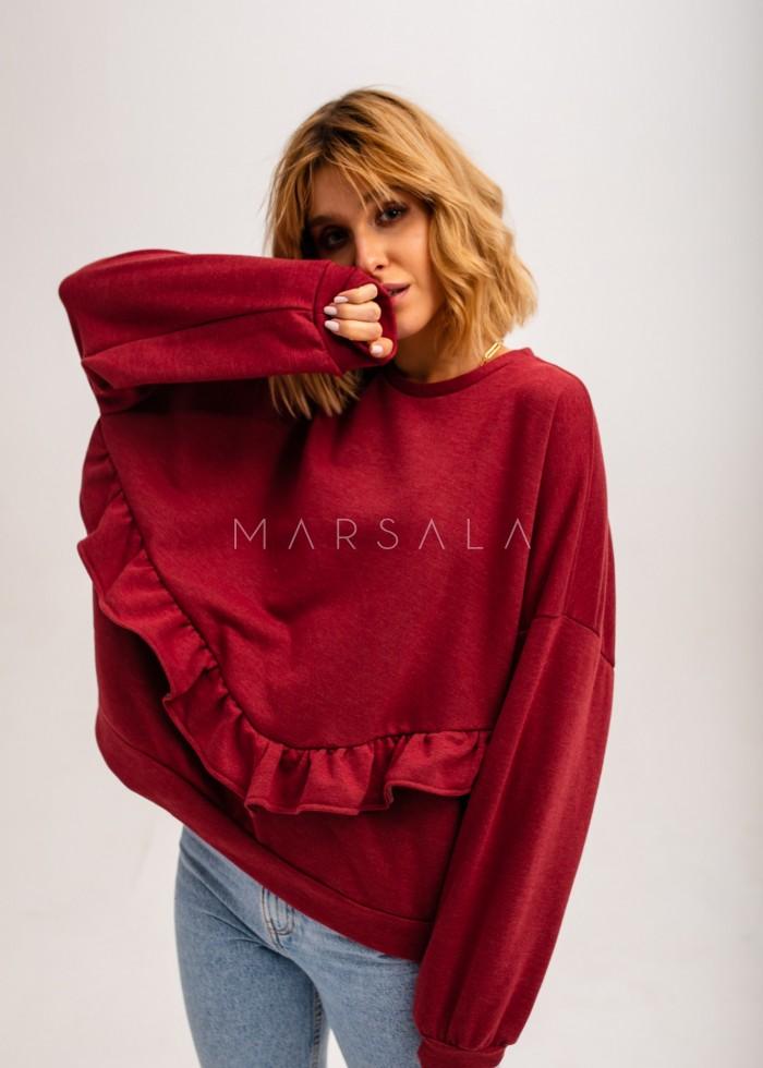 Bluza damska oversize z falbanką na dole bordowa - ANGEL by Marsala