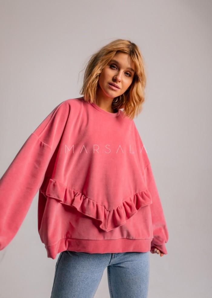 Welurowa bluza damska oversize z falbanką na dole różowa - VELVET ANGEL by Marsala