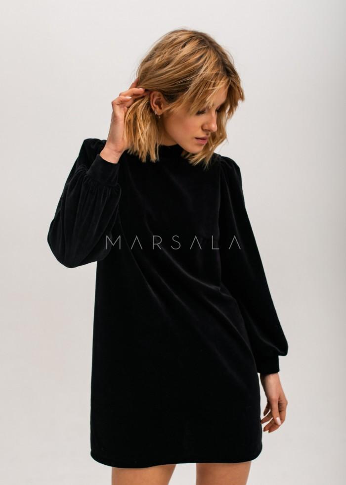 Sukienka welurowa z bufkami i stójką czarna - MIA VELVET by Marsala