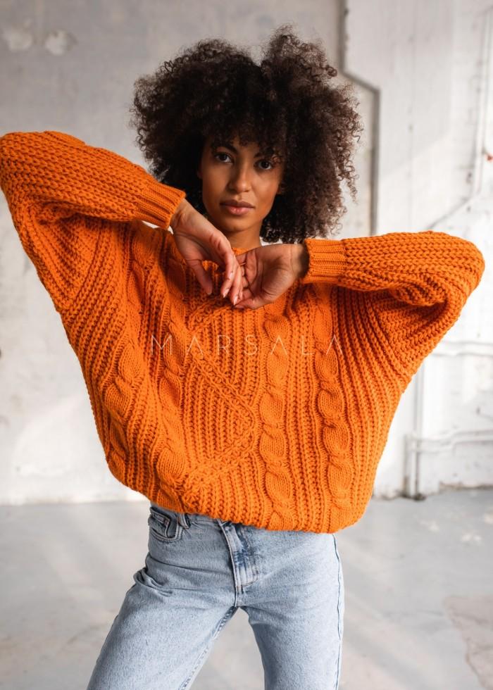 Gruby sweter z ozdobnym splotem w kolorze orange BELFORT by Marsala
