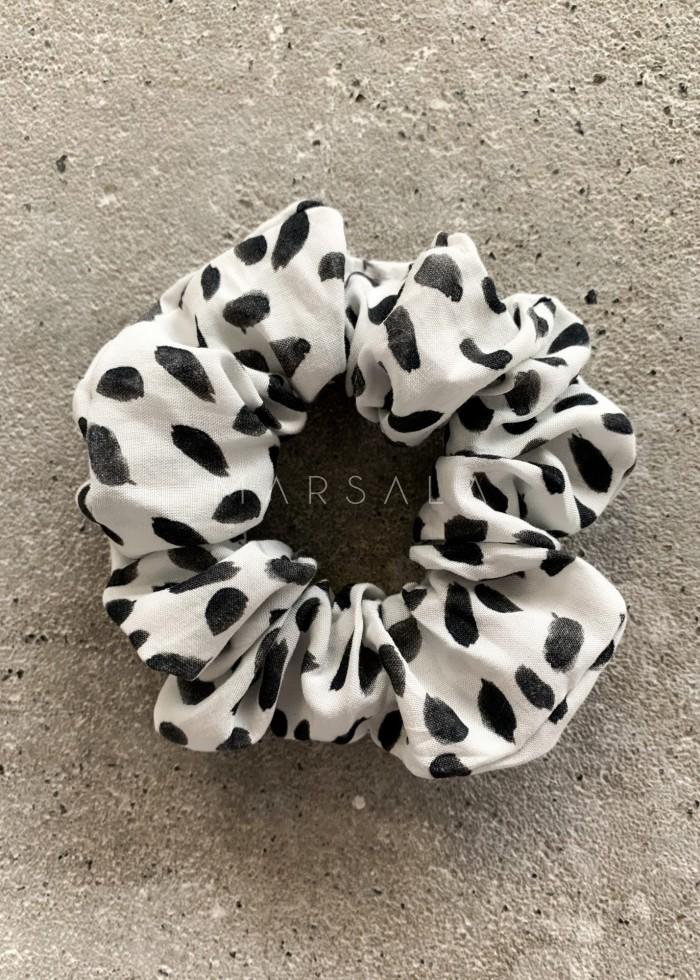 Gumka/frotka do włosów biała w ciapki - EMI by Marsala