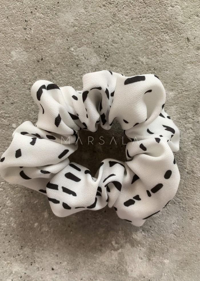 Gumka/frotka do włosów biała w paski - EMI by Marsala